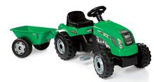 SMOBY 33329 Traktor GM BULL zelený s prívesom s otváracou kapotou, na šlapanie 136*56*45 cm