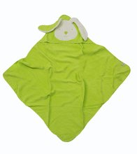 Kapucnis baba fürdőlepedő toTs-smarTrike nyuszis 100% természetes pamut zöld