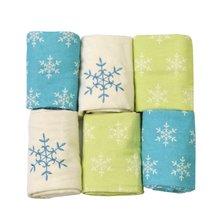 Flanelové plienky toTs-smarTrike vločky 6 kusov 100% česaný bavlnený flanel zeleno-modré