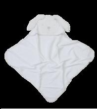 Kapucnis baba fürdőlepedő Classic toTs-smarTrike nyuszis 100% természetes pamut velúr fehér