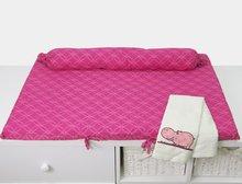 Prebaľovacia podložka Joy toTs-smarTrike s 2 obliečkami hroch 100% satén bavlna ružová