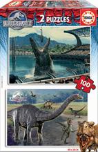 Puzzle pre deti Jurský svet Educa 2x100 dielov od 5 rokov