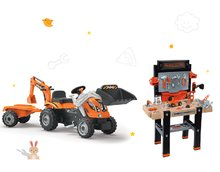 Set masă de lucru Black+Decker Smoby electronic şi tractor cu pedale Builder Max cu graifer şi cu încărcător frontal