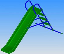 Šmykľavky pre deti  - Šmykľavka Starplast dĺžka 210 cm rovná s kovovou konštrukciou a napojením na vodu zelená_0