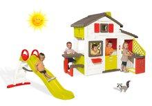 Szett házikó Barátok Smoby konyhával és csengővel és csúszda Toboggan Funny hullámos hossza 2 m