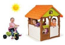 Set domček pre deti Máša a medveď Smoby s kvetináčom a trojkolka s vodiacou tyčou od 18 mesiacov