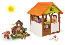 Set domček Máša a medveď Smoby s kvetináčom a stavebnica PlayBIG Bloxx domček 162 dielov od 2 rokov