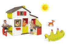 Set detský domček Priateľov Smoby s kuchynkou a tečúcou vodou a hojdačka Tuleň s vodotryskom