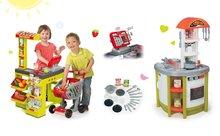 SMOBY 350202-8 zöld szupermarket Supermarket elektronikus pénztárgéppel és zöld játékkonyha Studio Tefal hangeffektekkel