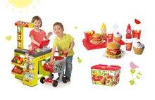 SMOBY 350202-12 zöld szupermarket Supermarket elektronikus pénztárgéppel és hamburger szett 25 kiegészítővel tálcán