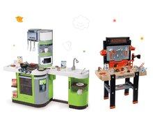 Set dětská pracovní dílna Black&Decker Smoby elektronická a kuchyňka CookMaster Verte se zvuky