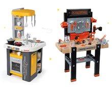 Set pracovná dielňa pre deti Black+Decker Smoby elektornická a kuchynka Tefal Studio so zvukmi