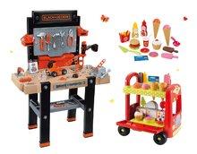 Set pracovná dielňa pre deti Black+Decker Smoby elektronická a zmrzlinársky vozík 100% Chef
