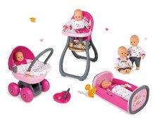 Bábika zlatá 32 cm Baby Nurse Smoby+jedálenská stolička+kočík hlboký+kolíska pre bábiku s perinkou 220100-18
