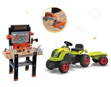 Set dětská pracovní dílna Black&Decker Smoby a traktor na šlapání Claas Farmer XL Žába