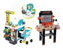 Komplet delavnica Black+Decker Smoby elektronska in trgovina Supermarket z dodatki