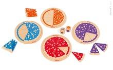 Drevená spoločenská hra Pizza 123 Janod so 4 pizzami v angličtine od 3-6 rokov