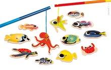 Drevené magnetické rybárske udice pre deti Tropical Fishing Janod a 12 rybičiek od 2 rokov