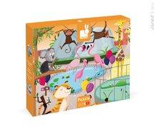 Puzzle Tactile Deň v zoologickej záhrade Janod s textúrou od 3 rokov 20 dielov