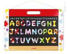 Drevená školská tabuľa Splash Janod magnetická, obojstranná na zavesenie s 28 doplnkami