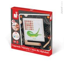 Drevená magnetická hra Abeceda so zvieratkami Janod tabuľa a 26 podložiek v angličtine a francúzštine od 4-8 rokov