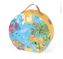 Janod 02775 puzzle Veľká mapa sveta v okrúhlom kufríku 300 dielov pre deti od 6 rokov