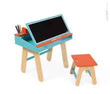 Drevená školská lavica Orange&Blue Janod otvárateľná so stoličkou a 5 doplnkami oranžovo-modrá