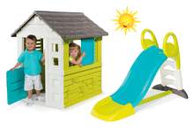 Szett házikó gyerekeknek Pretty Blue Smoby és csúszda Toboggan KS hossza 150 cm 2 éves kortól