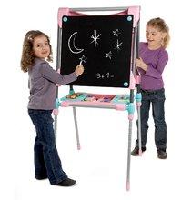 Školská tabuľa na hranie magnetická Smoby obojstranná, polohovateľná so skrinkou a 60 doplnkami ružová