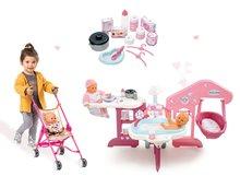 Set pečovatelské centrum pro panenku Baby Nurse Smoby a skládací kočárek Canne Bugina (45,5 cm ručka)