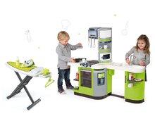 Kuchynky pre deti sety - Set kuchynka CookMaster Verte Smoby s ľadom a zvukmi a žehliaca doska so žehličkou Clean_24