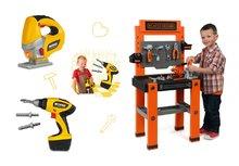 Set detská pracovná dielňa Black+Decker Smoby, elektronická ručná píla a vŕtačka so zvukom