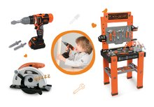 SMOBY 360700-3 set detská pracovná dielňa Black+Decker, elektronická kotúčová píla a vŕtačka