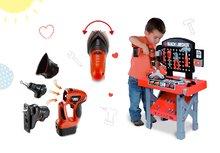 Set pracovná dielňa pre deti Black&Decker Smoby s mechanickou vŕtačkou a elektronická sada nástrojov 3v1 Quatro Set