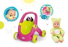 Set detské chodítko a kočík pre bábiku 2v1 Minnie Smoby a bábika so zvukom a svetlom DouDou MiniKiss 27 cm od 12 mesiacov