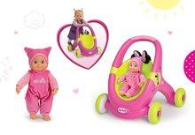 SMOBY 160180-1 járássegítő és játék babakocsi Minnie +rózsaszín baba hanggal sapkában MiniKiss