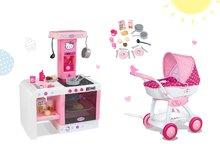 Set detský kočík pre bábiku Hello Kitty Smoby a kuchynka Hello Kitty Cheftronic so zvukmi od 18 mesiacov
