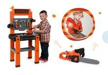 Set pracovná dielňa pre deti Black+Decker Smoby, elektronická motorová píla a zbíjačka so zvukom