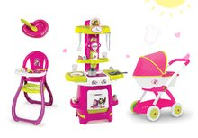 Set kočík pre bábiku Máša a medveď Smoby hlboký (58 cm rúčka), kuchynka s doplnkami a jedálenská stolička od 18 mesiacov
