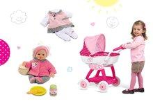 Set detský kočík Hello Kitty Smoby pre bábiku hlboký (55 cm rúčka) a bábika Baby Nurse so šatôčkami od 18 mesiacov