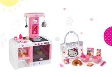 SMOBY 24195-2 elektronická kuchynka Hello Kitty Cheftronic so zvukmi s 19 doplnkami+raňajkový set v taštičke