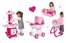 Set detský kočík Hello Kitty Smoby pre bábiku hlboký (55 cm rúčka), kuchynka Cooky, jedálenská stolička a kolíska pre bábiku od 18 mesiacov