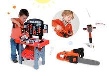 Set detská pracovná dielňa Black&Decker Smoby s mechanickou vŕtačkou, elektronická motorová píla a zbíjačka so zvukmi