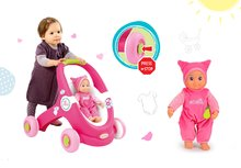 Set detské chodítko a kočík pre bábiku 2v1 MiniKiss Smoby a bábika so zvukom MiniKiss v čiapočke od 12 mesiacov