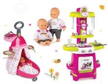 Szett pelenkázó kocsi játékbabának Baby Nurse Arany sorozat Smoby kisággyal, játékbaba 32 cm és játékkonyha Mása és a medve 18 hó-tól