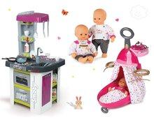 Set prebaľovací vozík pre bábiku Baby Nurse Zlatá edícia Smoby s postieľkou, bábika 32 cm a kuchynka Tefal Studio BBQ od 18 mesiacov