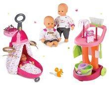 Prebaľovací vozík pre bábiku Baby Nurse Zlatá edícia Smoby s postieľkou+bábika+upratovací vozík ružový s vedrom a metlou 220316-7