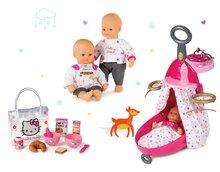 Set prebaľovací vozík pre bábiku Baby Nurse Zlatá edícia Smoby s postieľkou, bábika 32 cm a raňajková sada Hello Kitty od 18 mesiacov