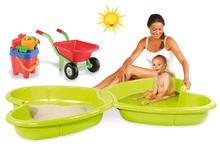 Set pískoviště pro děti Motýl Smoby s vodotryskem zelené a kolečko s kbelík setem od 2 let