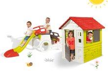 Set detská preliezačka Adventure Car Smoby so šmykľavkou dlhou 150 cm a domček Nature od 2 rokov